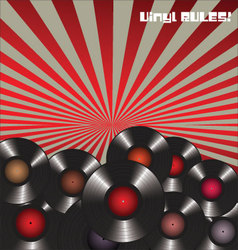 Vinyl rules retro background vector image