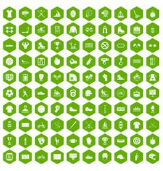 100 sport team icons hexagon green vector image vector image