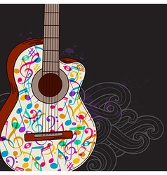 Black music background with guitar vector image vector image