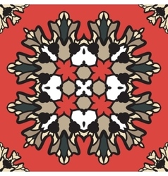Colorful ornament of square mandala on a dark red vector image