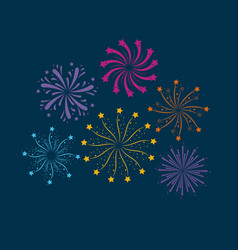 fireworks bursting in glowing multi colours on vector image