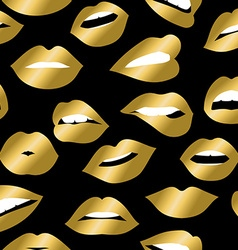 Gold girl mouth icons seamless pattern design vector