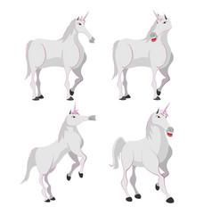 horse white unicorn character set vector image