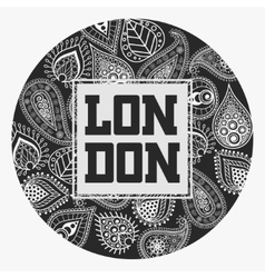 London T-shirt with floral ornament vector image vector image