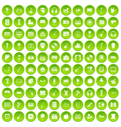 100 musical education icons set green circle vector