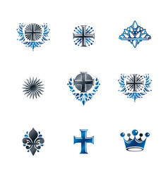 ancient crosses crown stars and flowers emblems vector image vector image