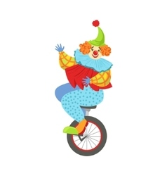 Colorful Friendly Clown Balancing On Unicycle In vector image vector image