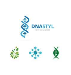 Dna and chromosome logo combination vector