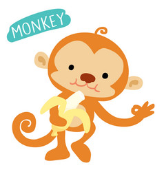 happy monkey love to eat banana vector image vector image