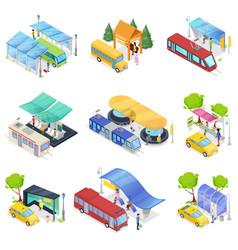 isometric 3d set city public transport vector image