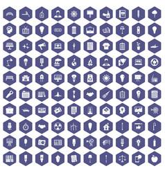 100 lamp icons hexagon purple vector