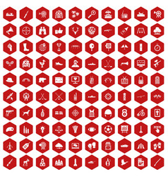 100 target icons hexagon red vector