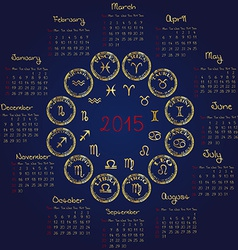 2015 Horoscope calendar vector image