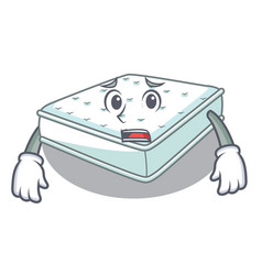 Afraid cartoon mattress the made to sleep vector