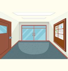 An empty school hallway vector
