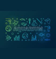 Aquarium colorful horizontal banner in thin vector