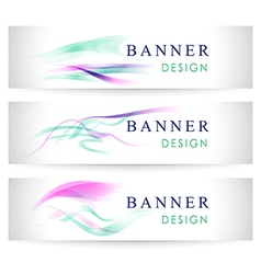 banners collection with abstract multicolored back vector image