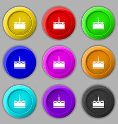 Birthday cake icon sign symbol on nine round vector