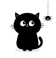 Black cat sitting silhouette looking at hanging vector