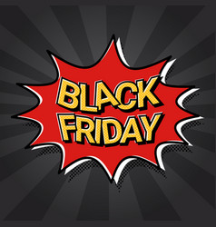 black friday sale web banner pop art comic vector image