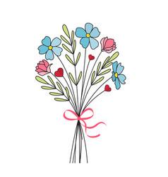 Bouquet meadow flowers vector
