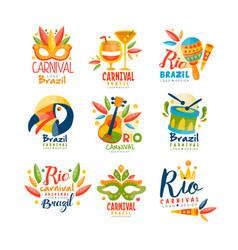 brazil rio carnival logo design set bright fest vector image
