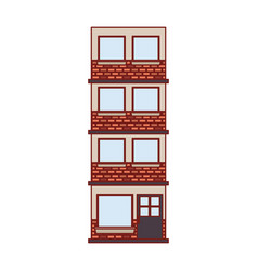Building facade of four floors in colorful vector