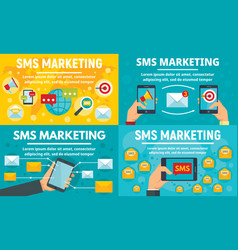 business sms marketing banner set flat style vector image