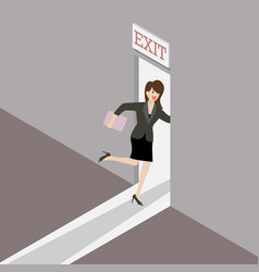 business woman runs to exit door vector image
