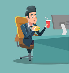 Businessman cartoon eating fast food at office vector