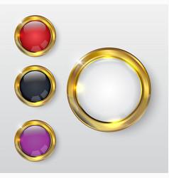 Button premium glossy gold vector