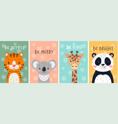 Cards with cute exotic tropical animals vector