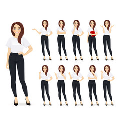 Casual business woman character set vector