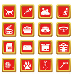 Cat care tools icons set red vector