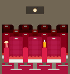 cinema chairs with popcorn soda vector image
