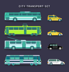 City transport set in flat style urban vector