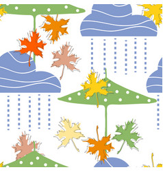 clouds and rain umbrellas and fall leaves flying vector image