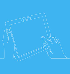 continuous one line drawing hand holding tablet vector image