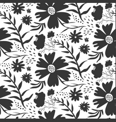 contrast black and white floral pattern vector image