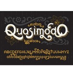 Custom retro typeface Quasimodo vector