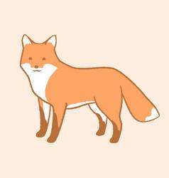 Cute cartoon fox fox stands and looks forward vector