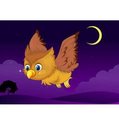 Cute owl flying in evening vector