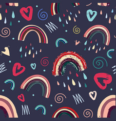 Cute rainbow and heart patternfor valentines day vector