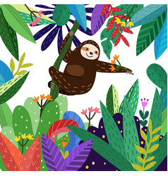 Cute sloth funny in colorful forest cartoon vector