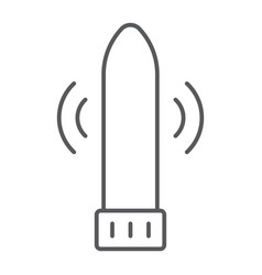 Dildo vibrator thin line icon sex toy and adult vector
