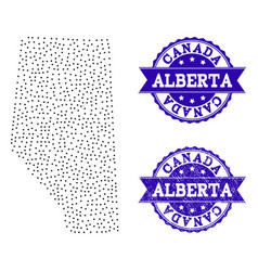 Dotted map of alberta province and grunge stamp vector