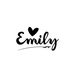 Emily name text word with love heart hand written vector