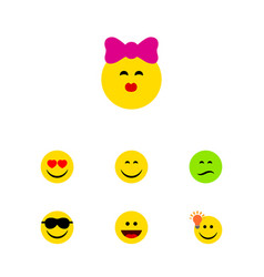 Flat icon emoji set of frown laugh happy and vector