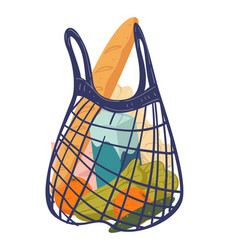 Food in net or string bag vegetables and bread vector