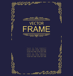 Frame art deco style gold color vector